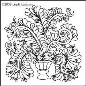 Digital Quilting Design Blooming Elegance Vase by Linda Lawson.