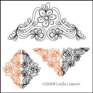 Digital Quilting Design Flowers in the Vine Triangle by Linda Lawson.