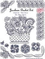 Digital Quilting Design Jacobean Basket Set by Linda Lawson.