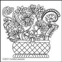 Digital Quilting Design Jacobean Basket by Linda Lawson.