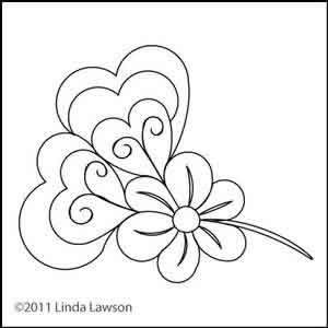 Digital Quilting Design Jacobean Heart Flower by Linda Lawson.