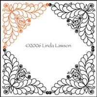 Digital Quilting Design Log Cabin Triangle Feather by Linda Lawson.
