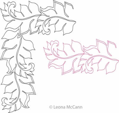 Digital Quilting Design Aoife's Leaf Border and Corner by Leona McCann.