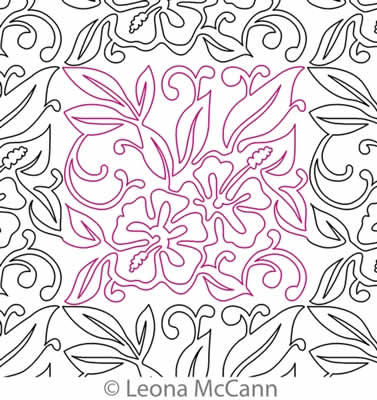 Digital Quilting Design Hawaiian Flower Border and Panto 1 by Leona McCann.