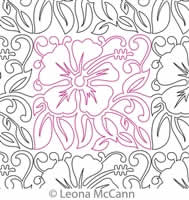 Digital Quilting Design Hawaiian Flower Border and Panto 10 by Leona McCann.