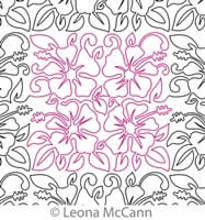 Digital Quilting Design Hawaiian Flower Border and Panto 12 by Leona McCann.