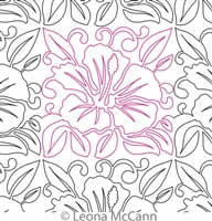 Digital Quilting Design Hawaiian Flower Border and Panto 2 by Leona McCann.