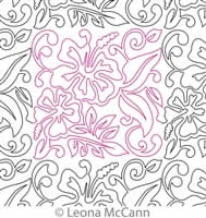 Digital Quilting Design Hawaiian Flower Border and Panto 3 by Leona McCann.