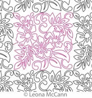 Digital Quilting Design Hawaiian Flower Border and Panto 4 by Leona McCann.