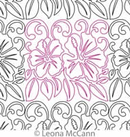 Digital Quilting Design Hawaiian Flower Border and Panto 7 by Leona McCann.