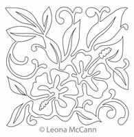 Digital Quilting Design Hawaiian Flower Block 1 by Leona McCann.