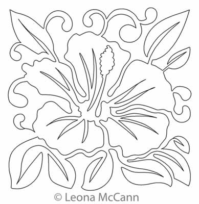 Digital Quilting Design Hawaiian Flower Block 2 by Leona McCann.