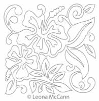 Digital Quilting Design Hawaiian Flower Block 3 by Leona McCann.