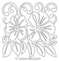 Digital Quilting Design Hawaiian Flower Block 7 by Leona McCann.