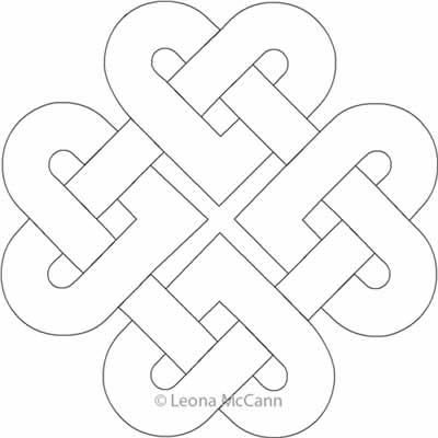 Digital Quilting Design Celtic Hearts Block by Leona McCann.