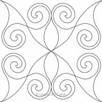 Digital Quilting Design Winged Spiral Block by Leona McCann.