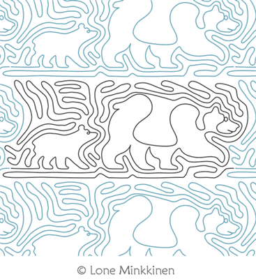 Bear and Cub by Lone Minkkinen. This image demonstrates how this computerized pattern will stitch out once loaded on your robotic quilting system. A full page pdf is included with the design download.