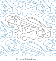 Fast Cars by Lone Minkkinen. This image demonstrates how this computerized pattern will stitch out once loaded on your robotic quilting system. A full page pdf is included with the design download.