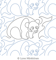 Panda by Lone Minkkinen. This image demonstrates how this computerized pattern will stitch out once loaded on your robotic quilting system. A full page pdf is included with the design download.