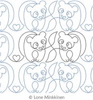 Panda Love by Lone Minkkinen. This image demonstrates how this computerized pattern will stitch out once loaded on your robotic quilting system. A full page pdf is included with the design download.