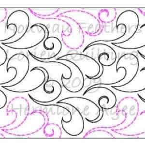 Digital Quilting Design Nouveau Feathers by Lorien Quilting.