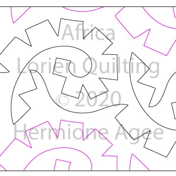 Africa by Lorien Quilting. This image demonstrates how this computerized pattern will stitch out once loaded on your robotic quilting system. A full page pdf is included with the design download.