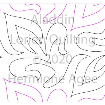 Aladdin by Lorien Quilting. This image demonstrates how this computerized pattern will stitch out once loaded on your robotic quilting system. A full page pdf is included with the design download.