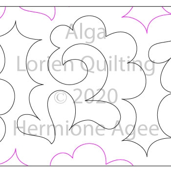 Alga by Lorien Quilting. This image demonstrates how this computerized pattern will stitch out once loaded on your robotic quilting system. A full page pdf is included with the design download.
