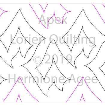Apex by Lorien Quilting. This image demonstrates how this computerized pattern will stitch out once loaded on your robotic quilting system. A full page pdf is included with the design download.