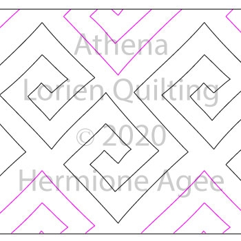Athena by Lorien Quilting. This image demonstrates how this computerized pattern will stitch out once loaded on your robotic quilting system. A full page pdf is included with the design download.