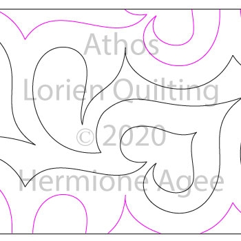 Athos by Lorien Quilting. This image demonstrates how this computerized pattern will stitch out once loaded on your robotic quilting system. A full page pdf is included with the design download.
