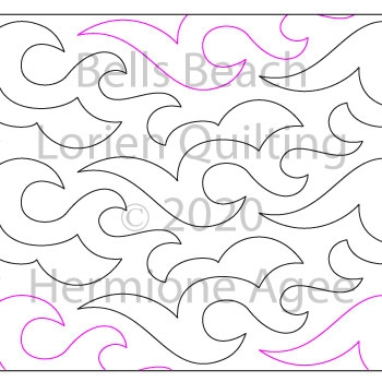 Bells Beach by Lorien Quilting. This image demonstrates how this computerized pattern will stitch out once loaded on your robotic quilting system. A full page pdf is included with the design download.