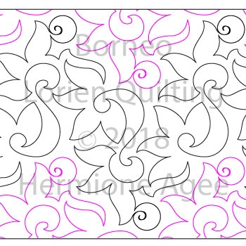 Borneo by Lorien Quilting. This image demonstrates how this computerized pattern will stitch out once loaded on your robotic quilting system. A full page pdf is included with the design download.
