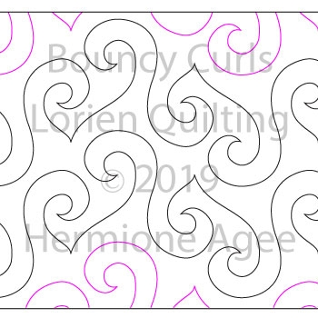 Bouncy Curls by Lorien Quilting. This image demonstrates how this computerized pattern will stitch out once loaded on your robotic quilting system. A full page pdf is included with the design download.