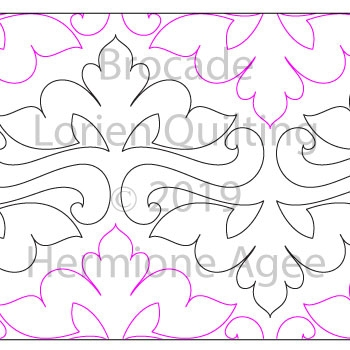 Brocade by Lorien Quilting. This image demonstrates how this computerized pattern will stitch out once loaded on your robotic quilting system. A full page pdf is included with the design download.