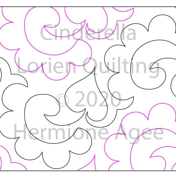 Cinderella by Lorien Quilting. This image demonstrates how this computerized pattern will stitch out once loaded on your robotic quilting system. A full page pdf is included with the design download.
