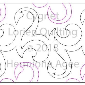 Cygnet by Lorien Quilting. This image demonstrates how this computerized pattern will stitch out once loaded on your robotic quilting system. A full page pdf is included with the design download.