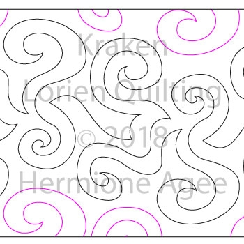 Kraken by Lorien Quilting. This image demonstrates how this computerized pattern will stitch out once loaded on your robotic quilting system. A full page pdf is included with the design download.