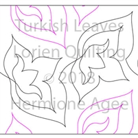 Turkish Leaves by Lorien Quilting. This image demonstrates how this computerized pattern will stitch out once loaded on your robotic quilting system. A full page pdf is included with the design download.