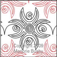 Digital Quilting Design Moonflower Mola by Marjorie Busby.