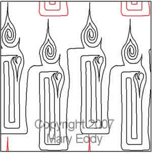 Digital Quilting Design Candle I by Mary Eddy.