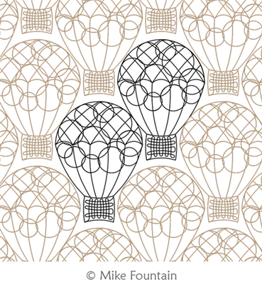 Hot Air Balloons by Mike Fountain. This image demonstrates how this computerized pattern will stitch out once loaded on your robotic quilting system. A full page pdf is included with the design download.