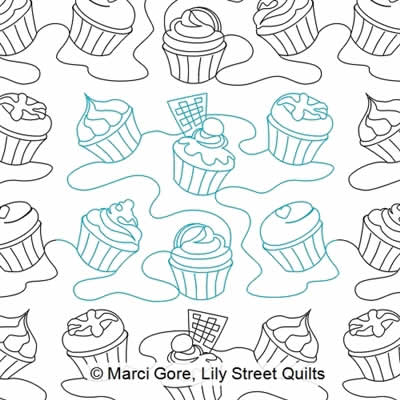 Digital Quilting Design Cupcakes E2E by Marci Gore.