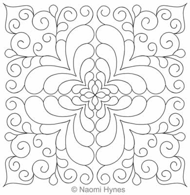 Digital Quilting Design Bella Feather Block 1 by Naomi Hynes.