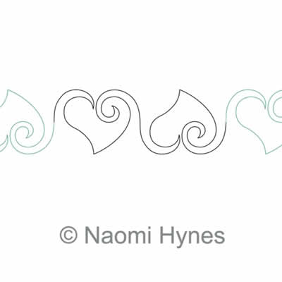 Digital Quilting Design My Curly Heart Sashing by Naomi Hynes.
