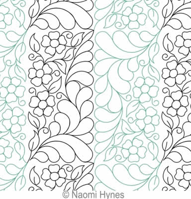 Digital Quilting Design Tall Feathers and Flowers Set by Naomi Hynes.