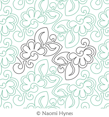 Bloom Pantograph by Naomi Hynes. This image demonstrates how this computerized pattern will stitch out once loaded on your robotic quilting system. A full page pdf is included with the design download.