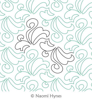 Dainty Pantograph by Naomi Hynes. This image demonstrates how this computerized pattern will stitch out once loaded on your robotic quilting system. A full page pdf is included with the design download.