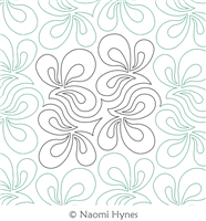 Organic Pantograph by Naomi Hynes. This image demonstrates how this computerized pattern will stitch out once loaded on your robotic quilting system. A full page pdf is included with the design download.