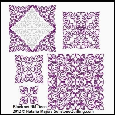 Digital Quilting Design Block Set Deco by Natalia Majors.
